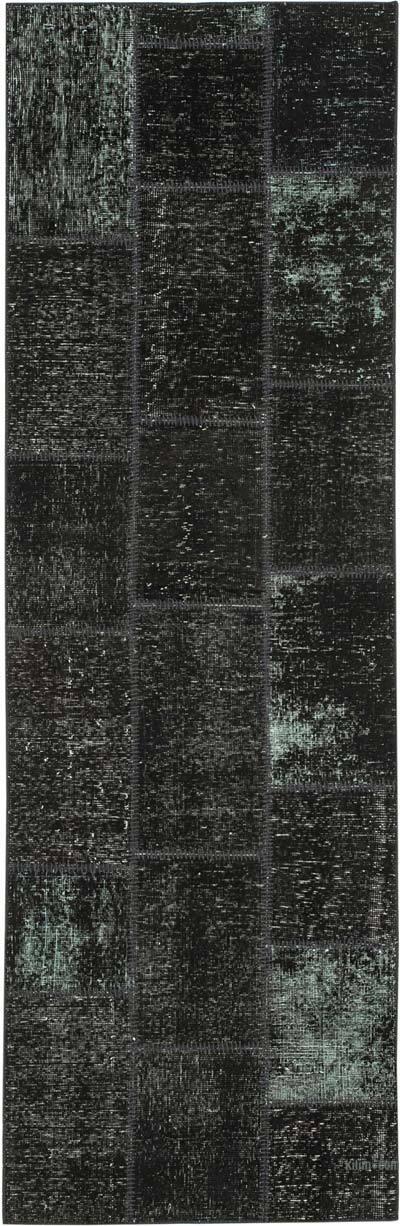 Siyah Boyalı Patchwork Halı