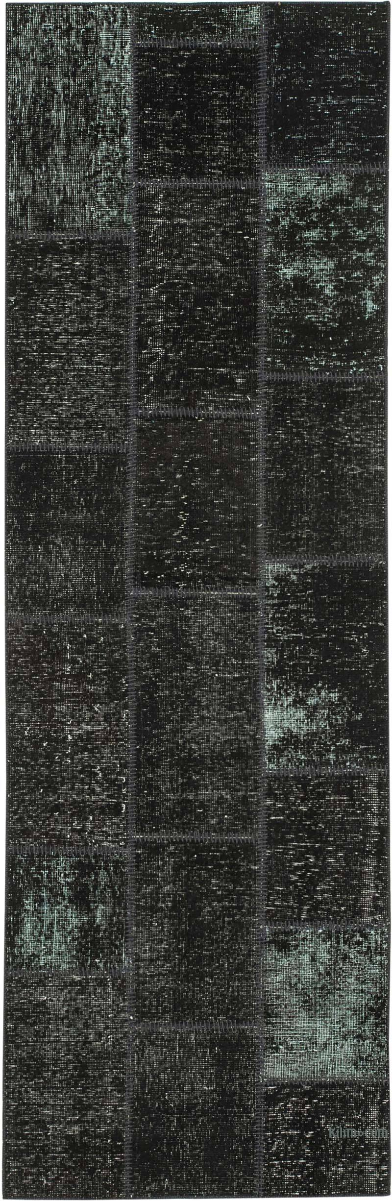 """Black Patchwork Hand-Knotted Turkish Runner - 2' 10"""" x 8' 10"""" (34 in. x 106 in.) - K0053885"""