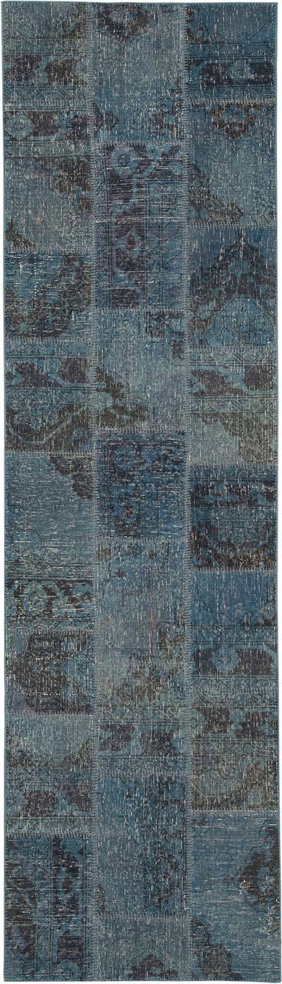 """Blue Patchwork Hand-Knotted Turkish Runner - 2' 10"""" x 10'  (34 in. x 120 in.)"""