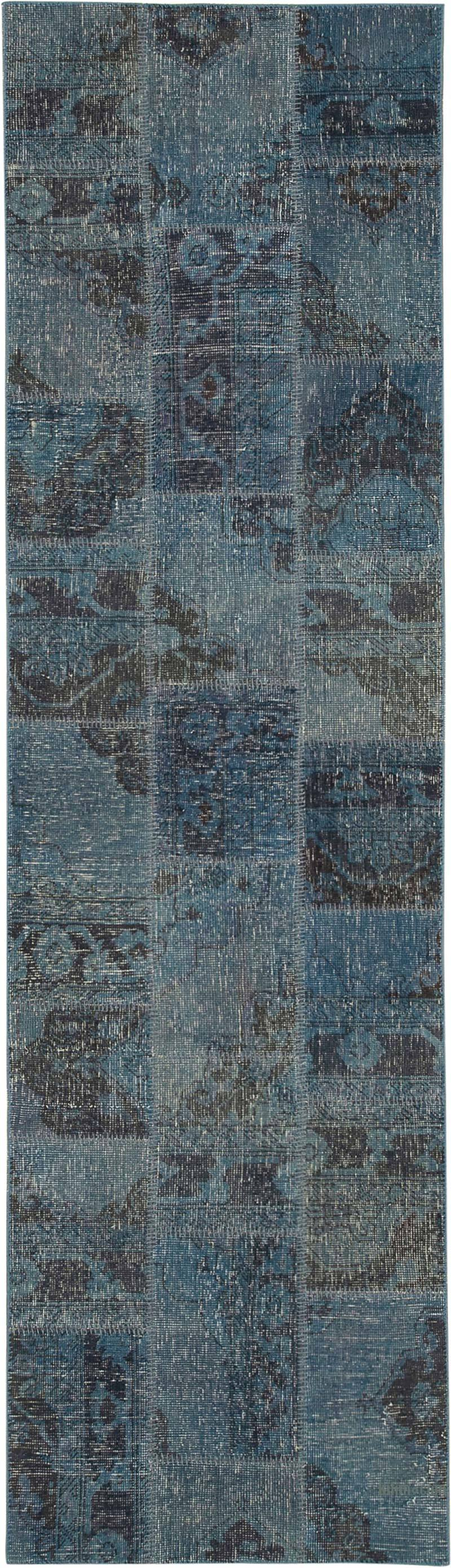 """Blue Patchwork Hand-Knotted Turkish Runner - 2' 10"""" x 10'  (34 in. x 120 in.) - K0053886"""