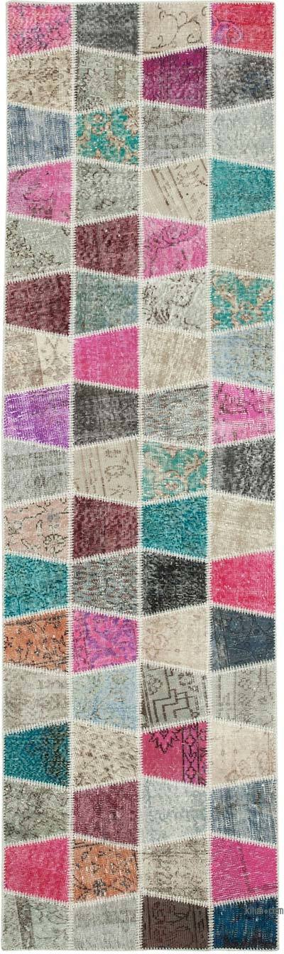 """Multicolor Patchwork Hand-Knotted Turkish Runner - 2' 11"""" x 10' 1"""" (35 in. x 121 in.)"""