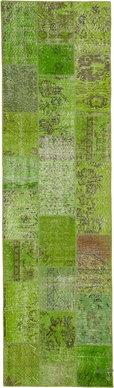 """Green Patchwork Hand-Knotted Turkish Runner - 2' 10"""" x 9' 10"""" (34 in. x 118 in.)"""