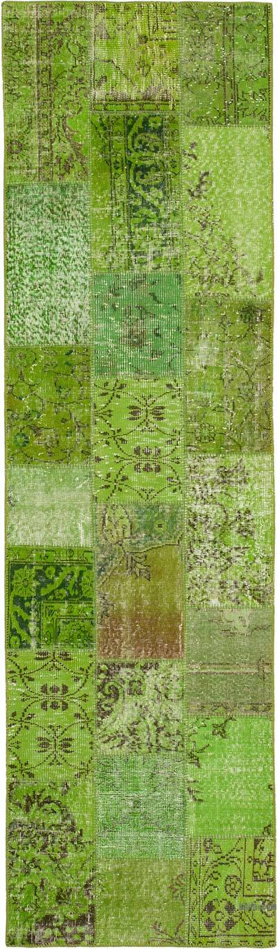 """Green Patchwork Hand-Knotted Turkish Runner - 2' 10"""" x 10'  (34 in. x 120 in.)"""