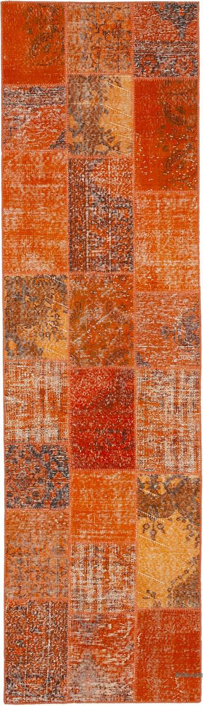 "Orange Patchwork Hand-Knotted Turkish Runner - 2' 10"" x 9' 10"" (34 in. x 118 in.)"