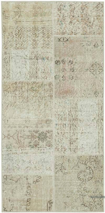 "Beige Patchwork Hand-Knotted Turkish Rug - 2' 5"" x 4' 11"" (29 in. x 59 in.)"