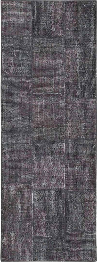 """Grey Patchwork Hand-Knotted Turkish Runner - 2' 10"""" x 7' 7"""" (34 in. x 91 in.)"""