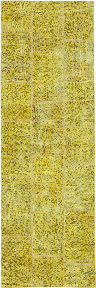 """Yellow Patchwork Hand-Knotted Turkish Runner - 2' 10"""" x 8' 7"""" (34 in. x 103 in.)"""