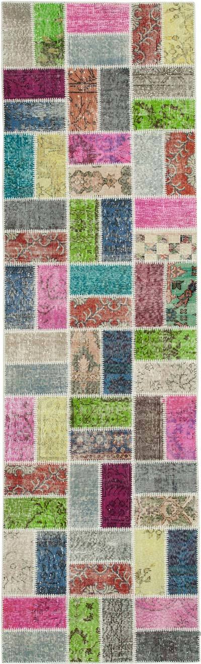 "Multicolor Patchwork Hand-Knotted Turkish Runner - 2' 11"" x 9' 10"" (35 in. x 118 in.)"