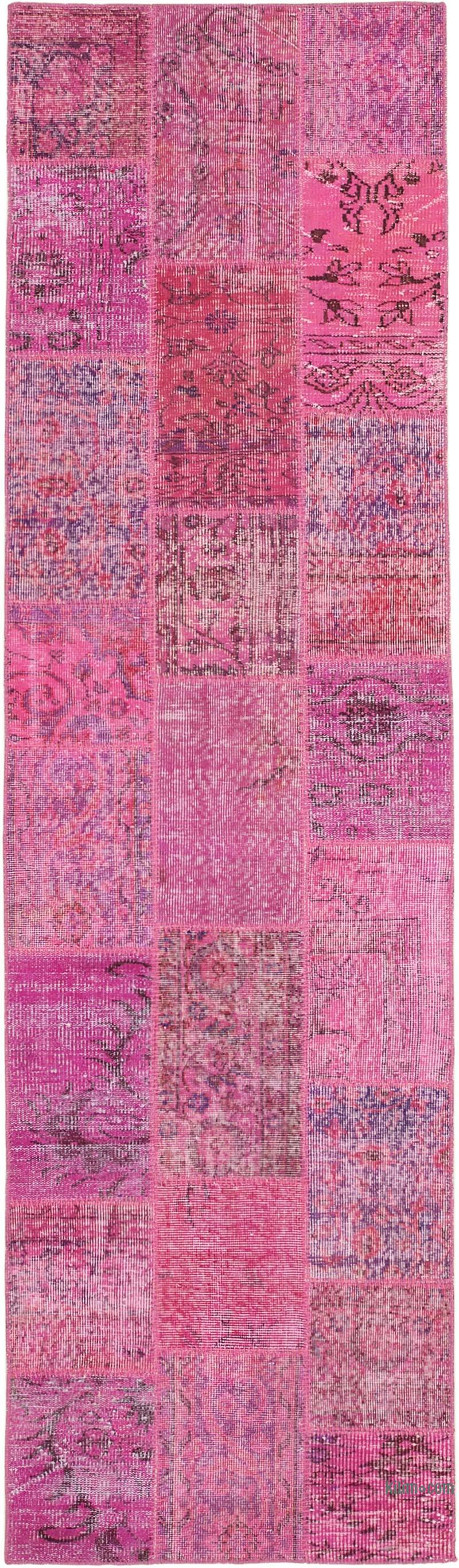 """Pink Patchwork Hand-Knotted Turkish Runner - 2' 9"""" x 9' 11"""" (33 in. x 119 in.) - K0053902"""