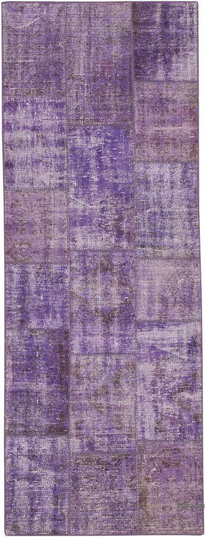 "Purple Patchwork Hand-Knotted Turkish Runner - 2' 9"" x 7' 5"" (33 in. x 89 in.)"