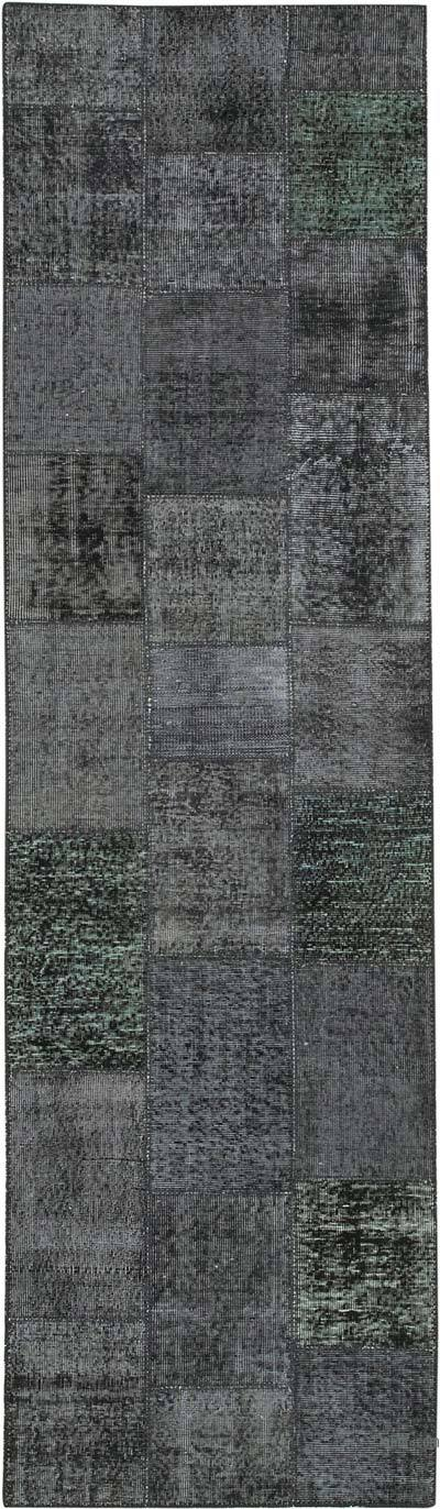 """Black Patchwork Hand-Knotted Turkish Runner - 2' 10"""" x 9' 10"""" (34 in. x 118 in.)"""