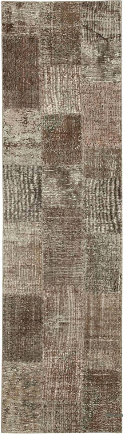 "Brown Patchwork Hand-Knotted Turkish Runner - 2' 9"" x 9' 10"" (33 in. x 118 in.)"