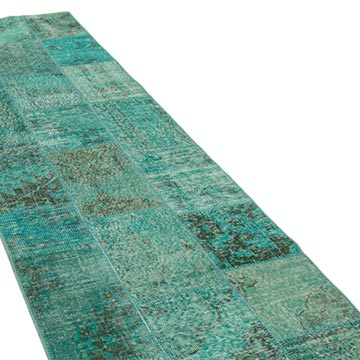 """Aqua Patchwork Hand-Knotted Turkish Runner - 2' 10"""" x 10' 2"""" (34 in. x 122 in.) - K0053911"""