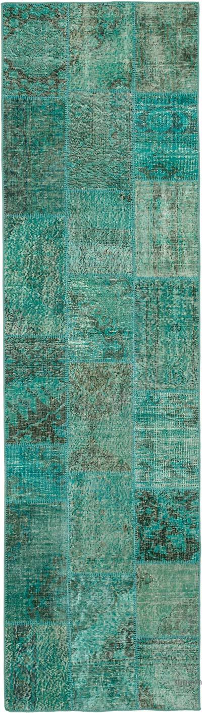 """Aqua Patchwork Hand-Knotted Turkish Runner - 2' 10"""" x 10' 2"""" (34 in. x 122 in.)"""