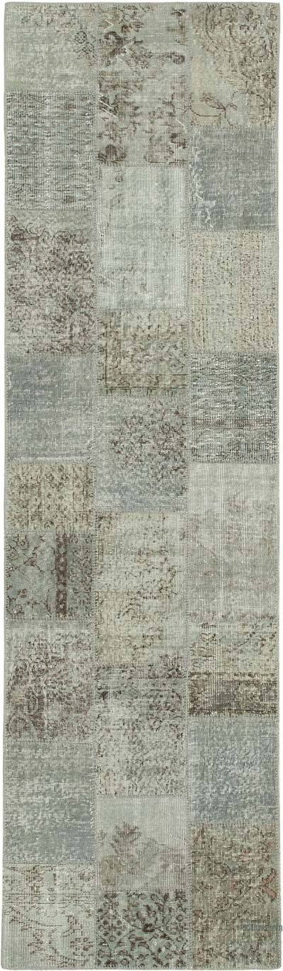 """Grey Patchwork Hand-Knotted Turkish Runner - 2' 10"""" x 9' 10"""" (34 in. x 118 in.)"""