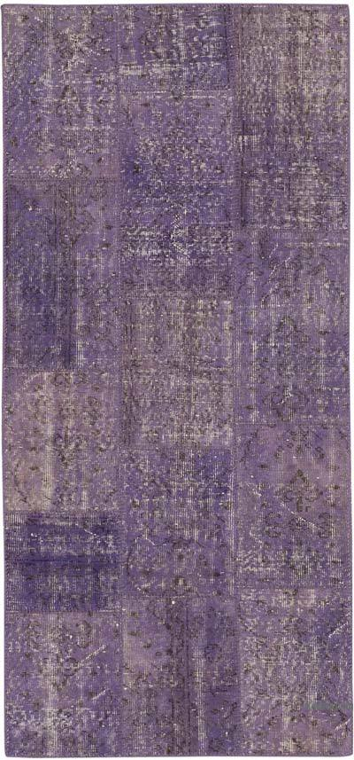 "Purple Patchwork Hand-Knotted Turkish Runner - 2' 11"" x 6' 7"" (35 in. x 79 in.)"