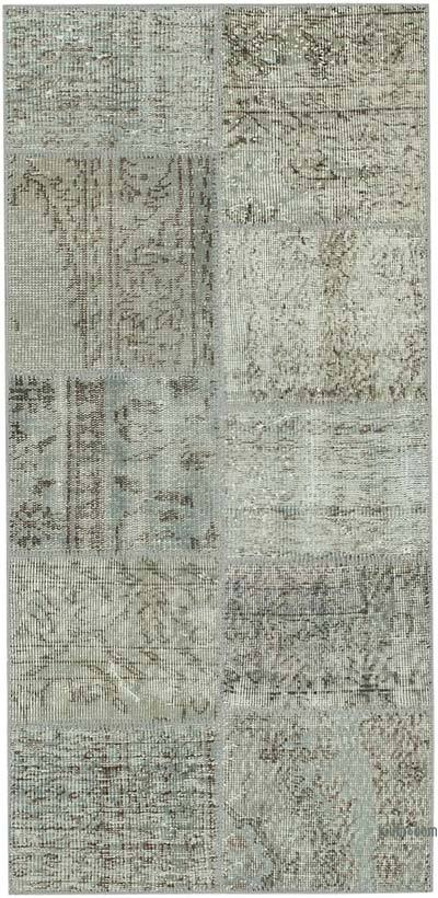 "Grey Patchwork Hand-Knotted Turkish Rug - 2' 5"" x 4' 11"" (29 in. x 59 in.)"