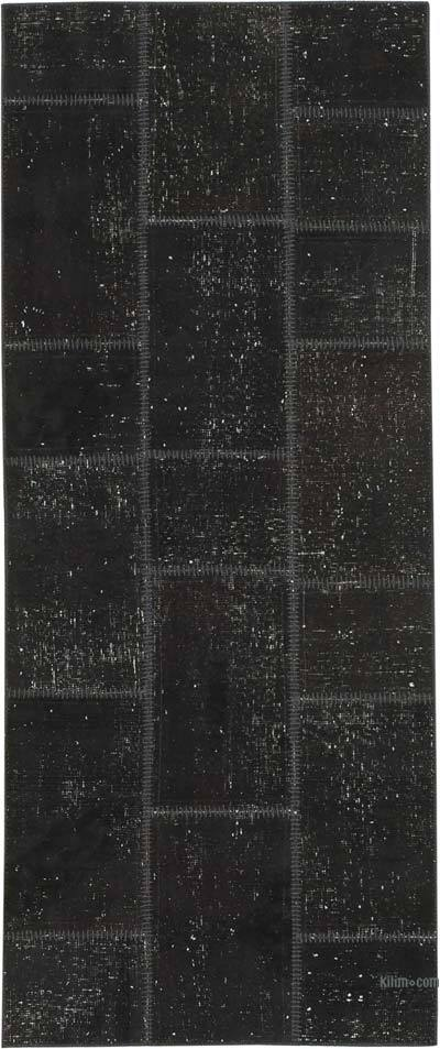 "Black Patchwork Hand-Knotted Turkish Runner - 2' 10"" x 6' 9"" (34 in. x 81 in.)"