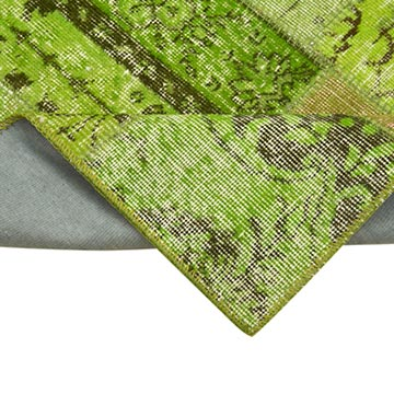 """Green Patchwork Hand-Knotted Turkish Runner - 2' 10"""" x 9' 11"""" (34 in. x 119 in.) - K0053922"""