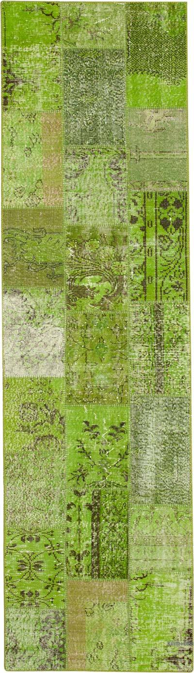 """Green Patchwork Hand-Knotted Turkish Runner - 2' 10"""" x 9' 11"""" (34 in. x 119 in.)"""
