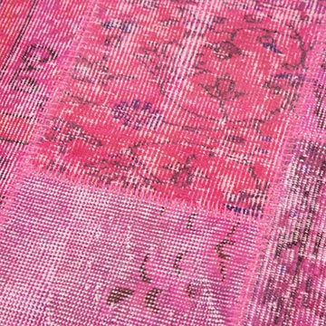 """Pink Patchwork Hand-Knotted Turkish Runner - 2' 9"""" x 10'  (33 in. x 120 in.) - K0053923"""
