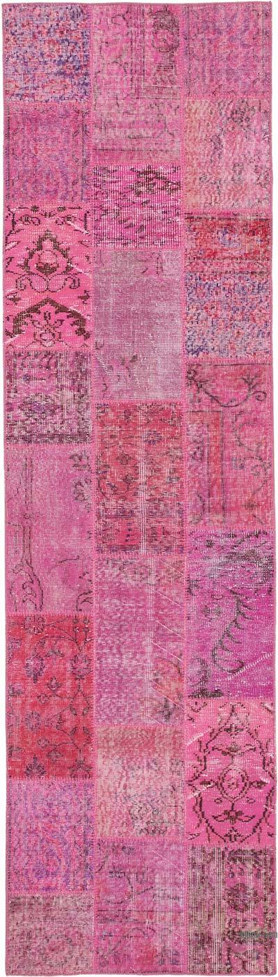 """Pink Patchwork Hand-Knotted Turkish Runner - 2' 9"""" x 10'  (33 in. x 120 in.)"""