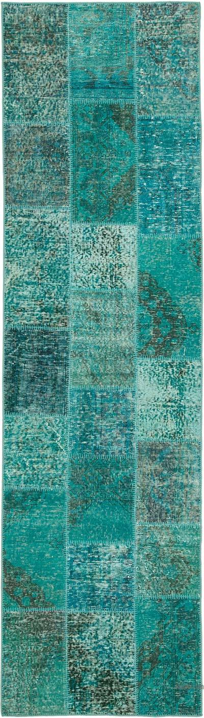 """Aqua Patchwork Hand-Knotted Turkish Runner - 2' 9"""" x 10'  (33 in. x 120 in.)"""