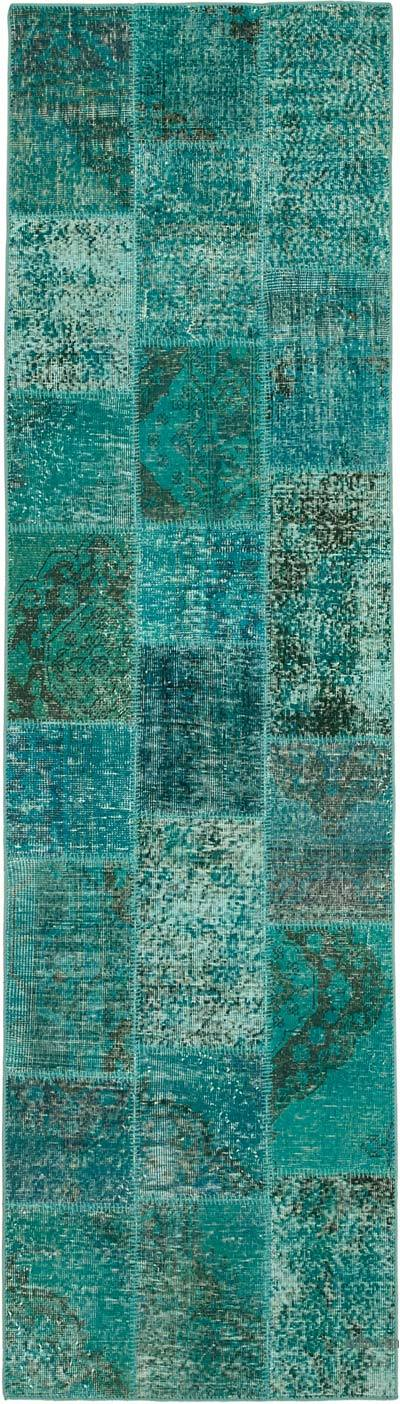 """Aqua Patchwork Hand-Knotted Turkish Runner - 2' 10"""" x 10'  (34 in. x 120 in.)"""