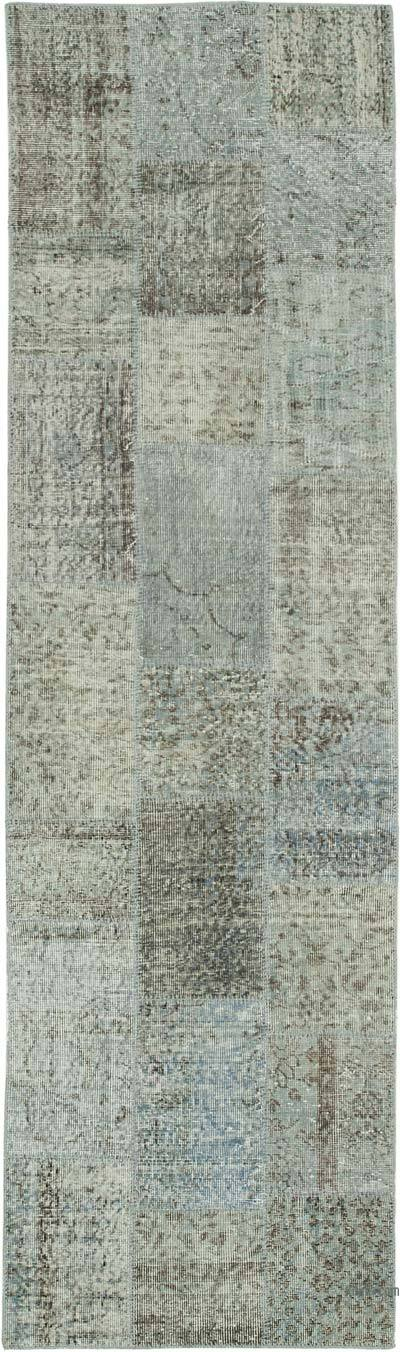 """Grey Patchwork Hand-Knotted Turkish Runner - 2' 9"""" x 9' 9"""" (33 in. x 117 in.)"""
