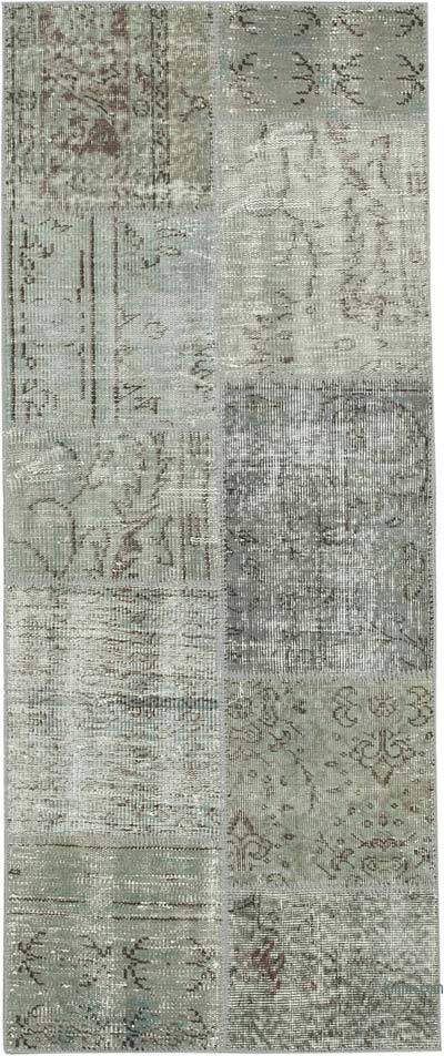 """Grey Patchwork Hand-Knotted Turkish Runner - 2' 5"""" x 5' 11"""" (29 in. x 71 in.)"""