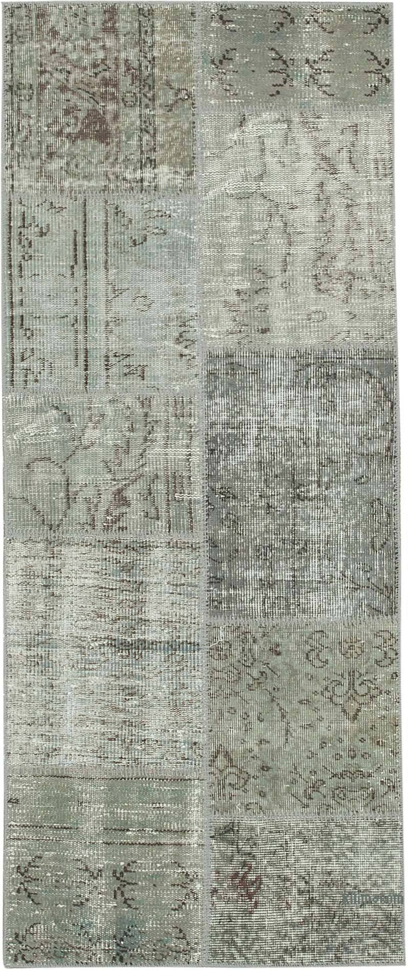 """Grey Patchwork Hand-Knotted Turkish Runner - 2' 5"""" x 5' 11"""" (29 in. x 71 in.) - K0053929"""