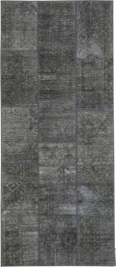 Gri Boyalı Patchwork Halı - 86 cm x 199 cm