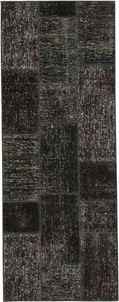 """Black Patchwork Hand-Knotted Turkish Runner - 2' 10"""" x 7' 5"""" (34 in. x 89 in.)"""