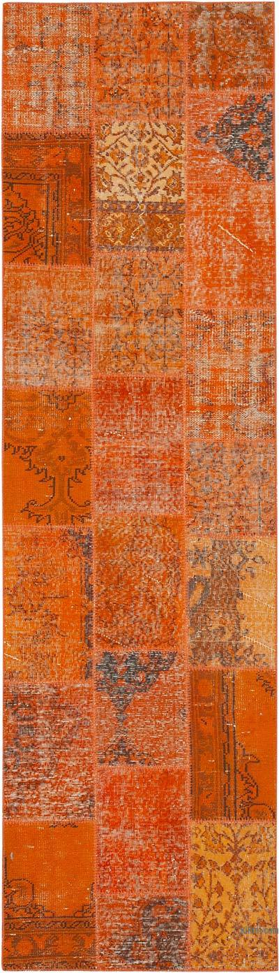 """Orange Patchwork Hand-Knotted Turkish Runner - 2' 9"""" x 9' 9"""" (33 in. x 117 in.)"""