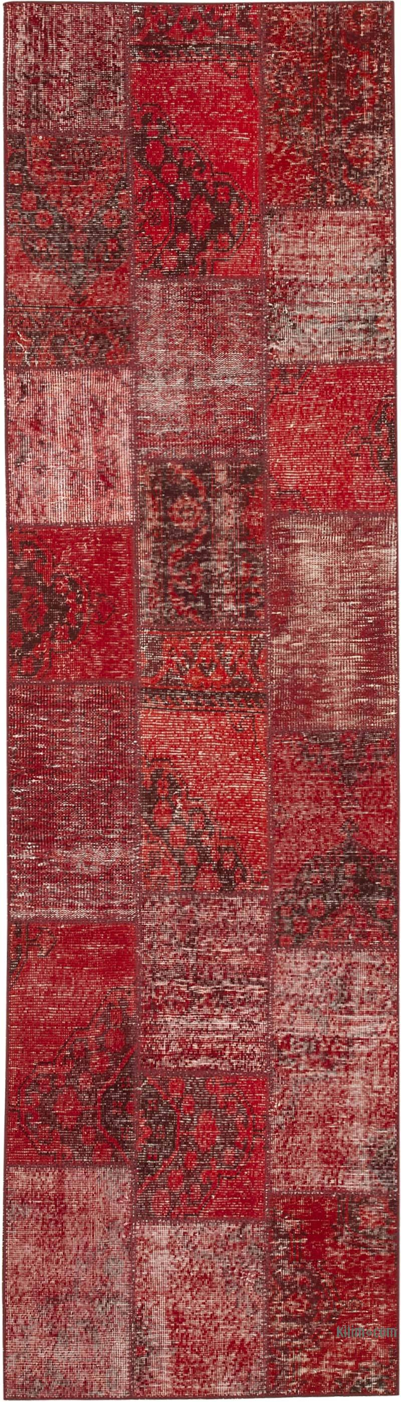 """Red Patchwork Hand-Knotted Turkish Runner - 2' 9"""" x 9' 11"""" (33 in. x 119 in.) - K0053936"""