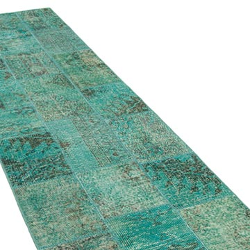"""Aqua Patchwork Hand-Knotted Turkish Runner - 2' 10"""" x 9' 8"""" (34 in. x 116 in.) - K0053937"""