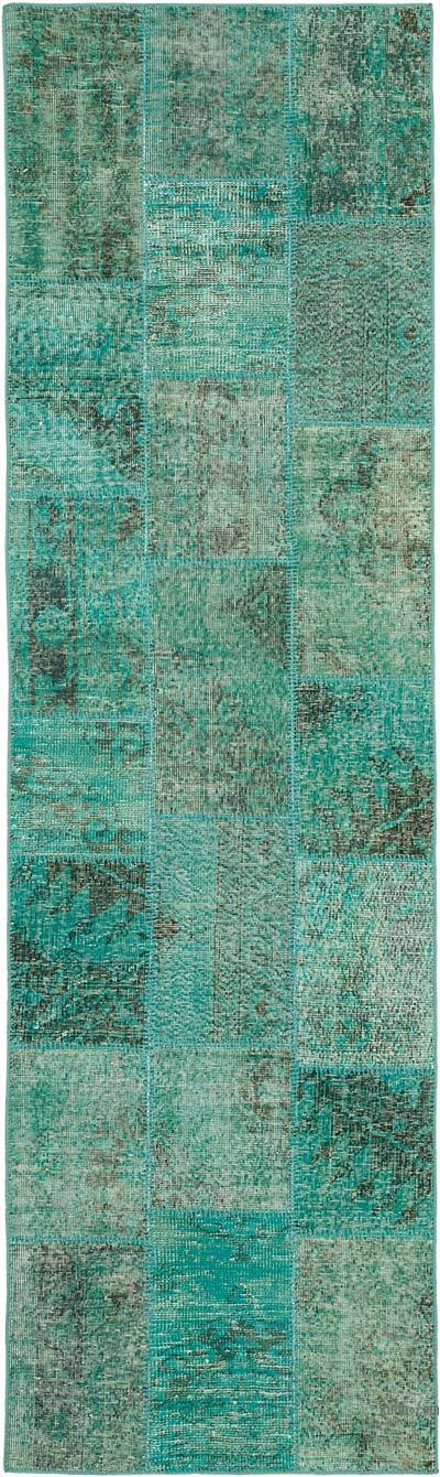 """Aqua Patchwork Hand-Knotted Turkish Runner - 2' 10"""" x 9' 8"""" (34 in. x 116 in.)"""