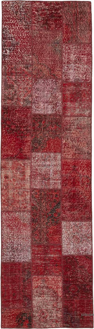 """Red Patchwork Hand-Knotted Turkish Runner - 2' 10"""" x 10'  (34 in. x 120 in.)"""