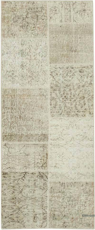 "Beige Patchwork Hand-Knotted Turkish Runner - 2' 5"" x 5' 11"" (29 in. x 71 in.)"