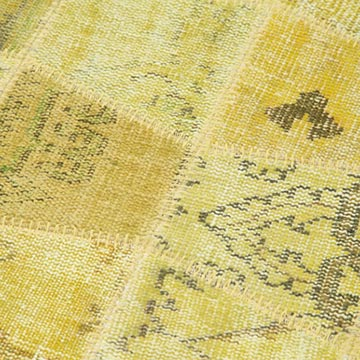 """Yellow Patchwork Hand-Knotted Turkish Runner - 3' 3"""" x 10' 1"""" (39 in. x 121 in.) - K0053948"""