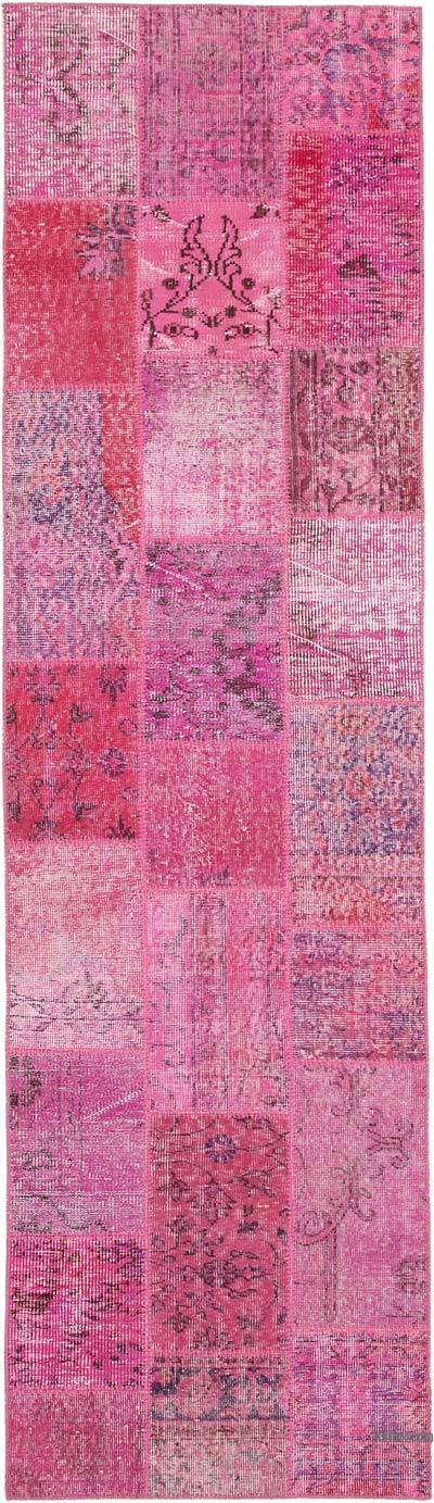 "Pink Patchwork Hand-Knotted Turkish Runner - 2' 9"" x 9' 9"" (33 in. x 117 in.)"