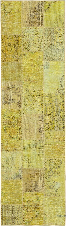 Amarillo Alfombra De Retazos Turca Sobre-teñida - 86 cm x 301 cm