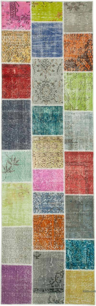 "Multicolor Patchwork Hand-Knotted Turkish Runner - 3'  x 9' 9"" (36 in. x 117 in.)"