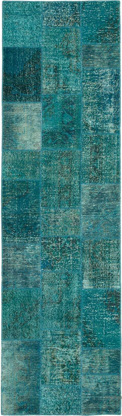 """Aqua Patchwork Hand-Knotted Turkish Runner - 2' 10"""" x 9' 9"""" (34 in. x 117 in.)"""