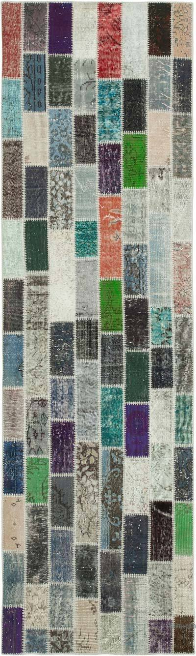 """Multicolor Patchwork Hand-Knotted Turkish Runner - 3' 1"""" x 10' 5"""" (37 in. x 125 in.)"""