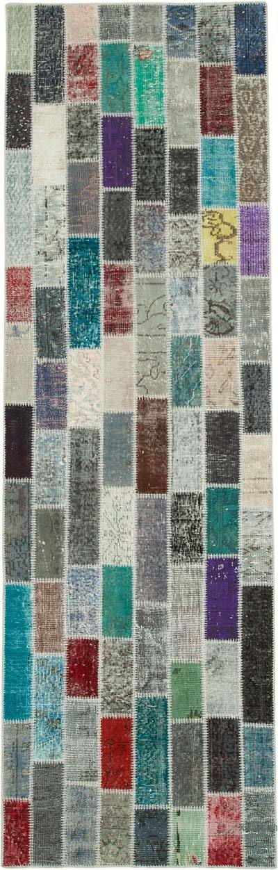 "Multicolor Patchwork Hand-Knotted Turkish Runner - 3' 1"" x 10'  (37 in. x 120 in.)"
