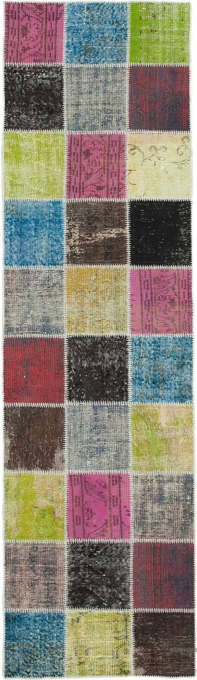 Multicolor Alfombra De Retazos Turca Sobre-teñida - 83 cm x 297 cm