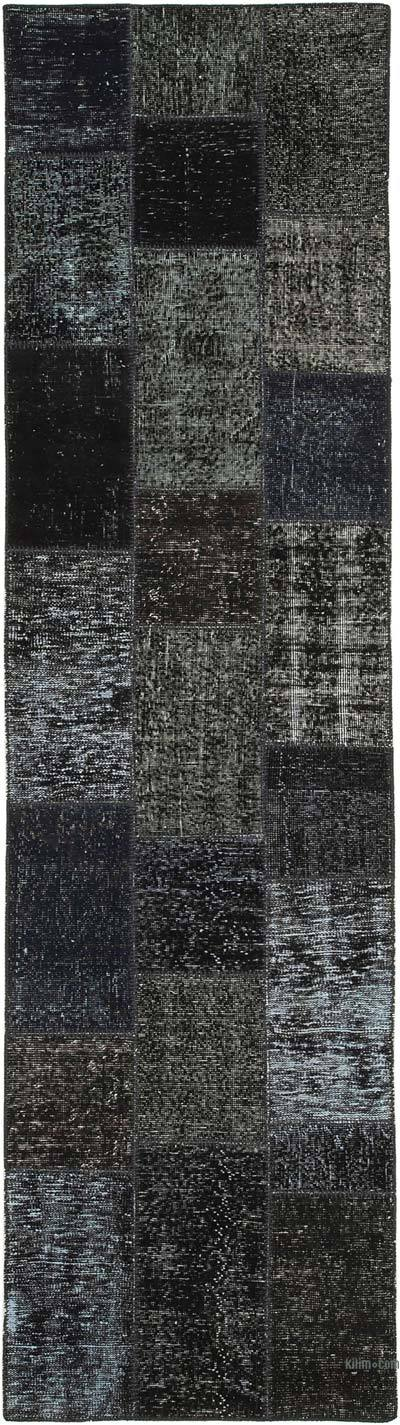 """Black Patchwork Hand-Knotted Turkish Runner - 2' 9"""" x 10' 2"""" (33 in. x 122 in.)"""
