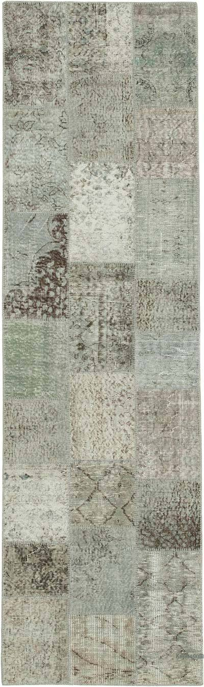 """Grey Patchwork Hand-Knotted Turkish Runner - 2' 10"""" x 9' 9"""" (34 in. x 117 in.)"""