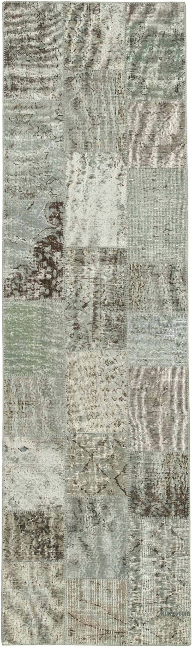 """Grey Patchwork Hand-Knotted Turkish Runner - 2' 10"""" x 9' 9"""" (34 in. x 117 in.) - K0053966"""